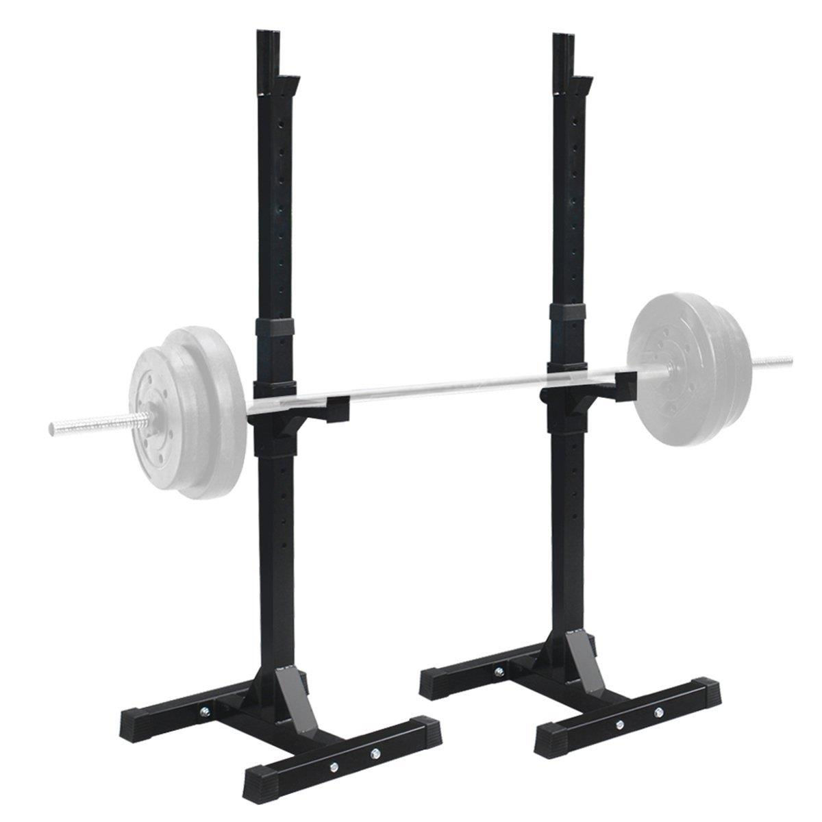 Ktaxon Pair of Standard Solid Barbell Bench Adjustable Steel Squat Rack Stands for Gym Workout Exercise