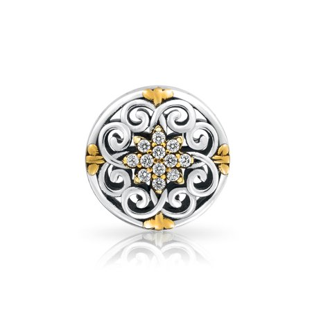 Gold Plated CZ Cut Out Filigree Swirl Bead Charm .925 Sterling Silver