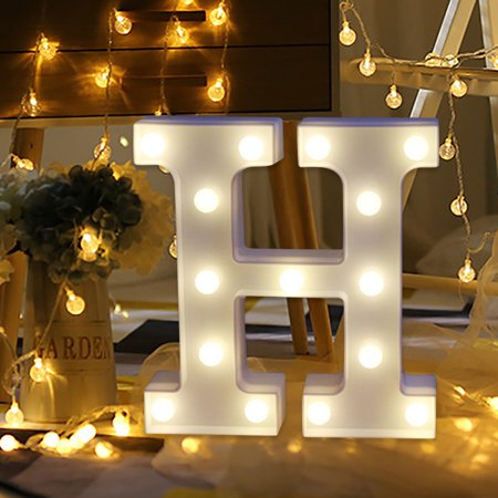 Outtop Alphabet LED Letter Lights Light Up White Plastic Letters Standing Hanging H](Led Hanging Lights)