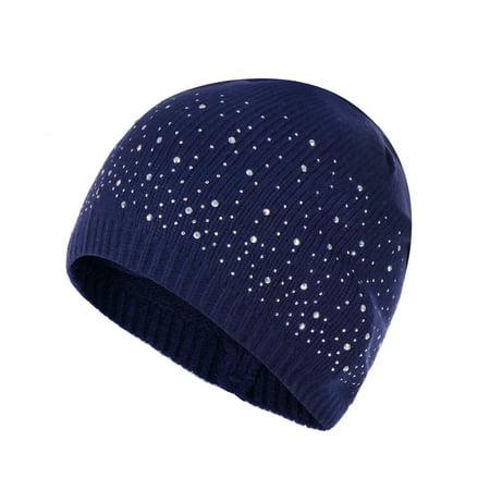 Winter Warm Knitted Crochet Wool Hat Women Skull Rhinestone Beanie Cap Slouchy Skiing Hat (navy blue)