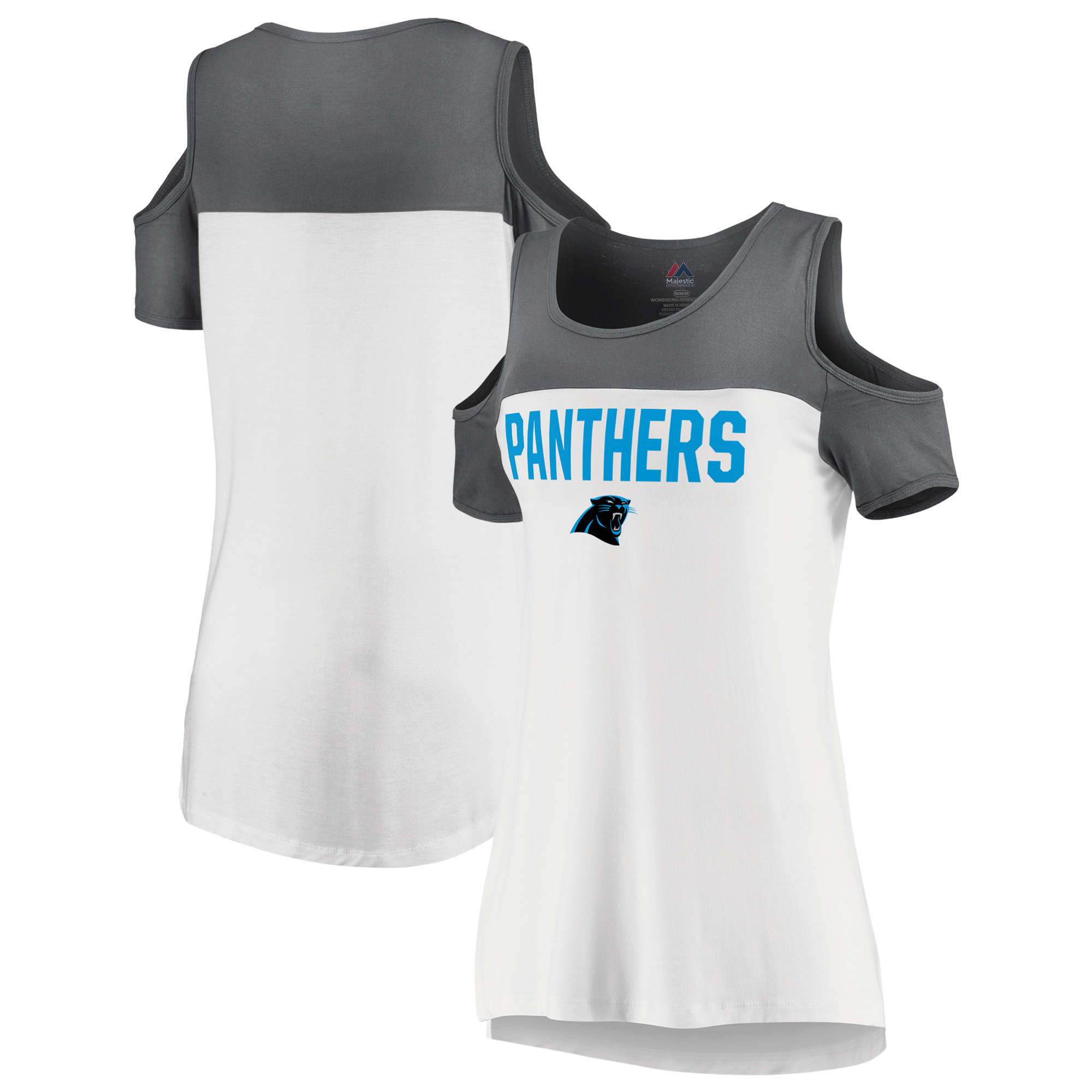 Carolina Panthers Majestic Women's Pure Dedication Open Shoulder T-Shirt - White/Gray