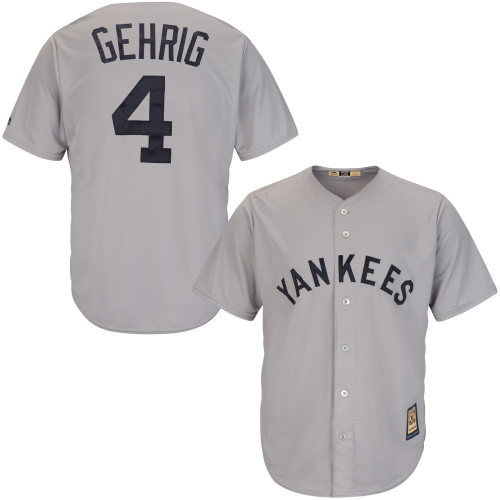 Lou Gehrig New York Yankees Majestic Cool Base Cooperstown Collection Player Jersey - Gray