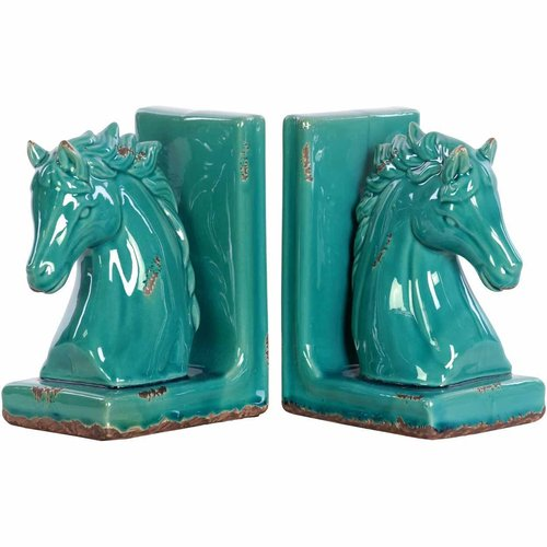 Urban Trends Collection: Stoneware Horse Bookend, Gloss Finish, Green