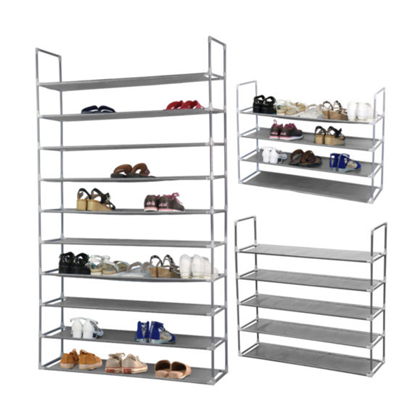 50 Pairs 10 Tier Space Saving Storage Organizer Free Standing Shoe Tower Rack (Gray)