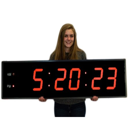 Huge Industrial Warehouse Cafeteria Gym Clock 8 Inch Numbers Aluminum Frame with Full Function Remote (Warehouse Frames)