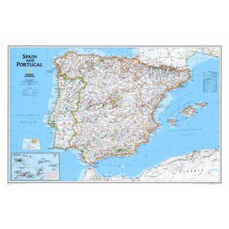 Map of Spain and Portugal Poster - 32.5x21.5 (Maps Of Spain)