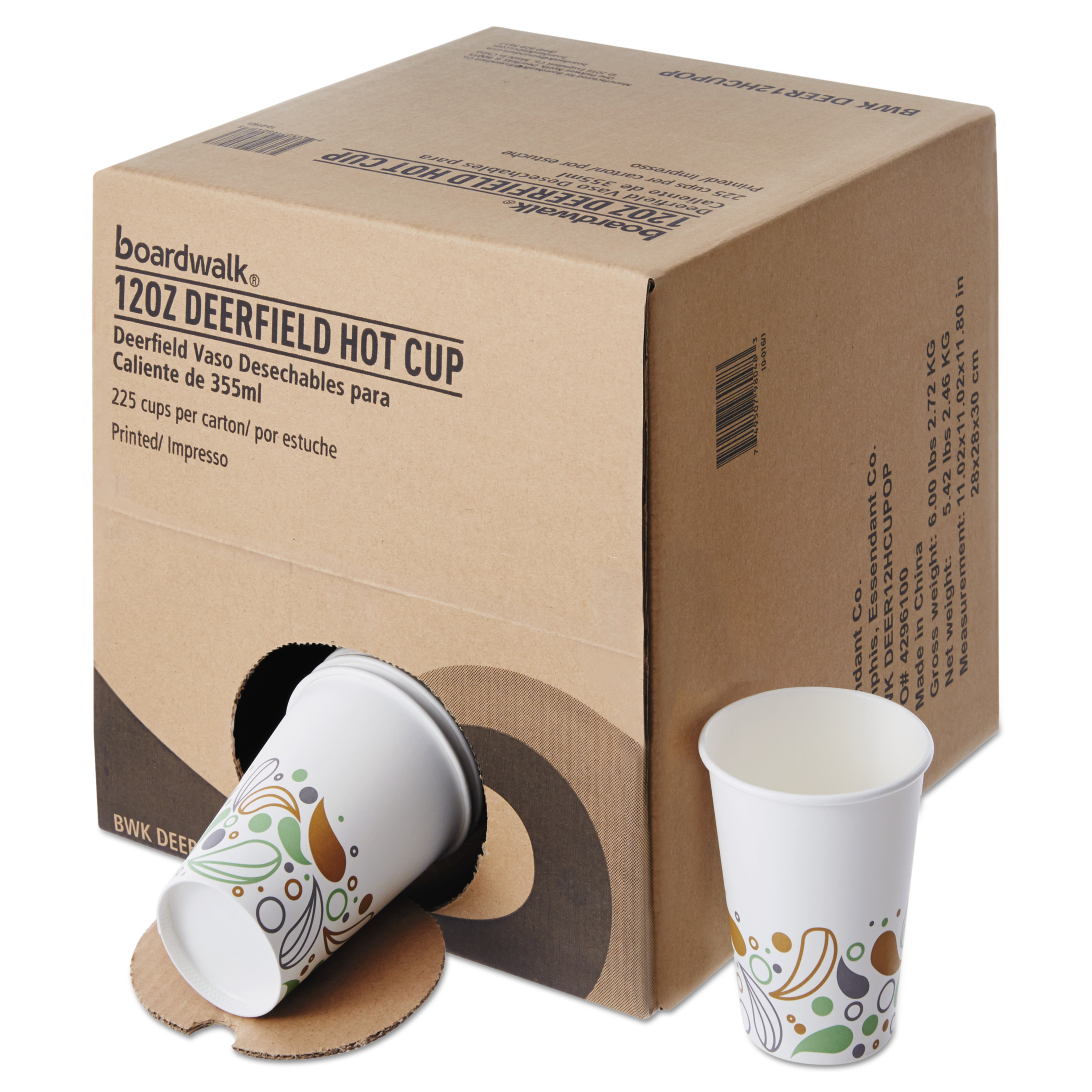 Boardwalk Convenience Pack Paper Hot Cups, 12 oz, Deerfield Print, 225/Carton -BWKDEER12HCUPOP