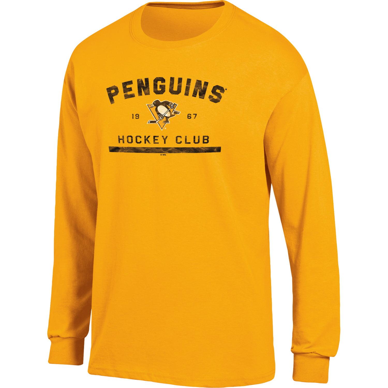 Men's Gold Pittsburgh Penguins Spine Hit Long Sleeve T-Shirt