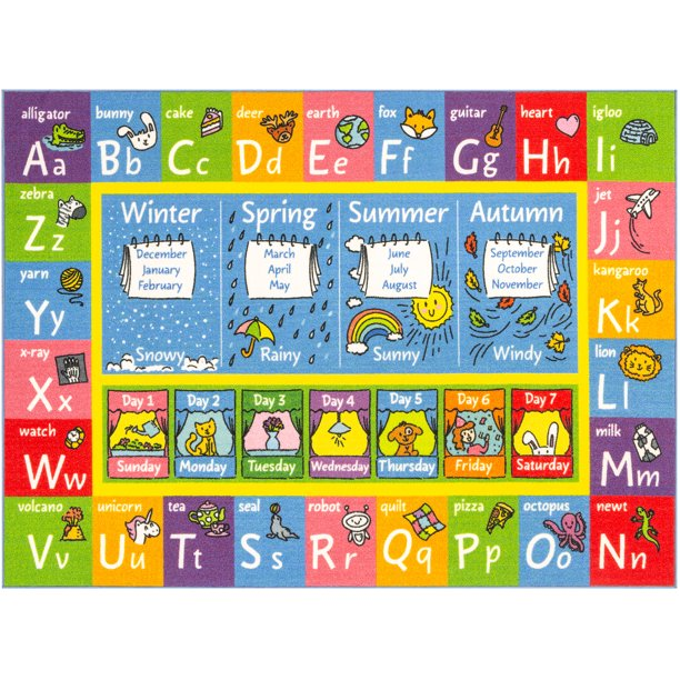 "KC CUBS Playtime Collection ABC, Seasons, Months and Days of the Week Educational Learning Area Rug Carpet For Kids and Children Bedrooms and Playroom (3'3"" x 4'7"")"