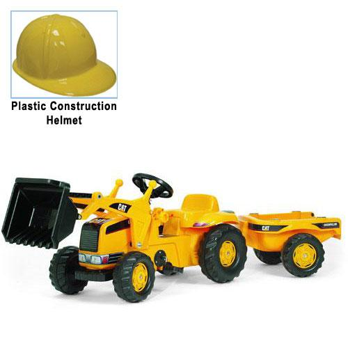 Kettler 023288 CAT Kid Tractor with Yellow Plastic Construction Helmet by Kettler