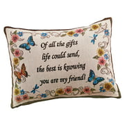 Collections Etc My Friend Tapestry Weave Throw Pillow Decorative Gift - Butterflies, Flowers, Written Message