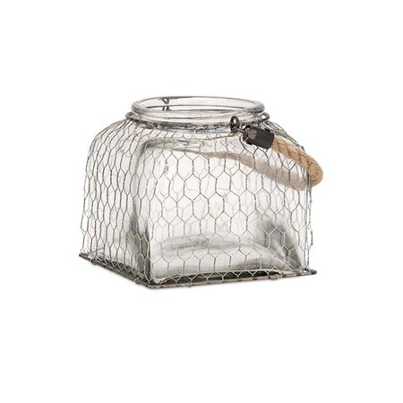 125 Small American Farmhouse Chic Chicken Wire Caged Glass Jar With Twisted Rope Handle