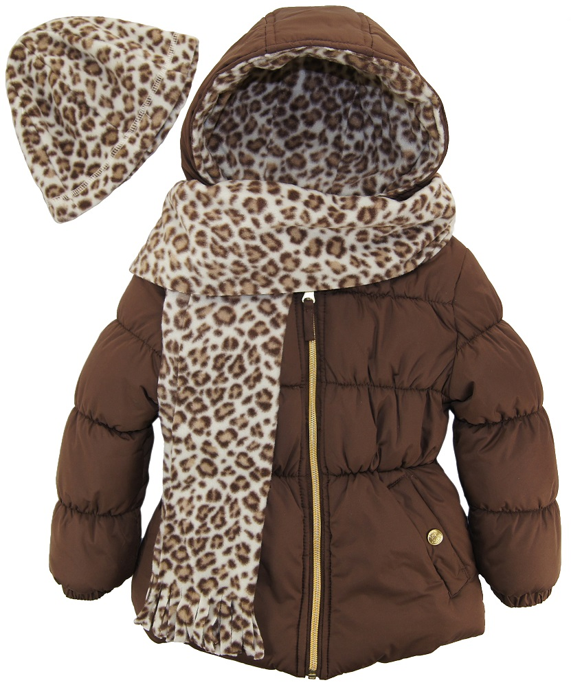 winter com puffer hat scarf little walmart and platinum coat solid pink cheetah girls set ip