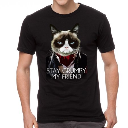 Grumpy Cat Stay Grumpy Men's Black T-shirt NEW Sizes S-2XL](Halloween Meme Grumpy Cat)
