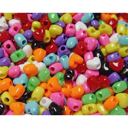 JOLLY STORE Crafts Opaque Multi Colors Heart Shaped Pony Beads, Made in USA - Multi Color Beads
