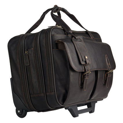 Breckenridge Wheeled Laptop Case - Brown