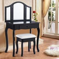 Tri Folding Mirror Vanity Makeup Table Set Bedroom W/Stool & Drawers-Black