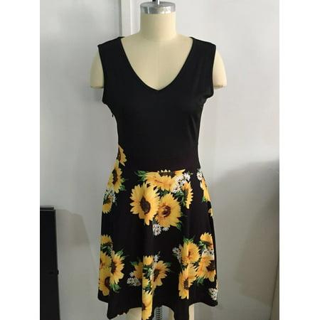 Summer Women Dress Sleeveless Defined Waist V-neck Fashion Print Dress - image 1 of 3