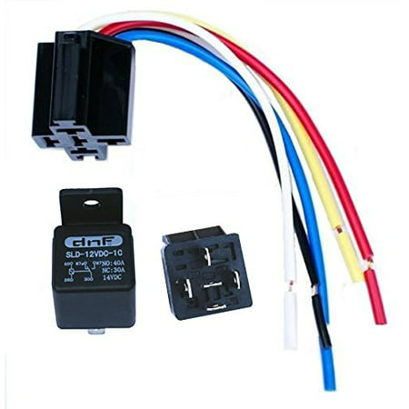 Bosch Relay Wiring (DNF (1 Pair_ 12V 30/40 AMP Automative Relay with Harness Socket SPDT Bosch Style 12 Volt )