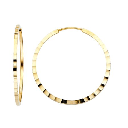 Womens Solid 14K Yellow Gold 1.5mm Square Tube Hoop Earrings