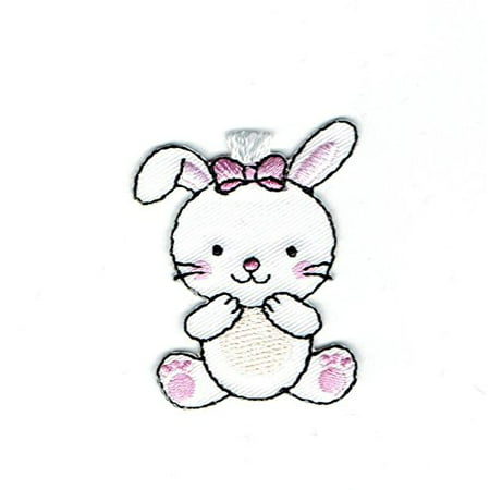 Bunny Embellishment - White Bunny Rabbit - Sitting - Iron on Embroidered Patch