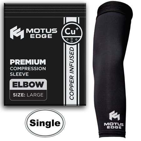 Motus Edge Copper Infused Elbow Compression Sleeve - Sports, Pain Relief,