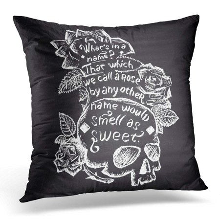 BOSDECO Black Juliet Chalk with Skull Roses and Quote Shakespeare Lettering White Romeo Pillowcase Pillow Cover Cushion Case 20x20 inch - image 1 de 1
