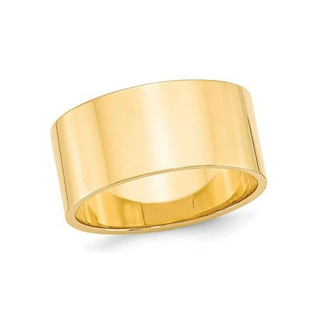 Mens 14K Yellow Gold 10mm Flat Wedding Band