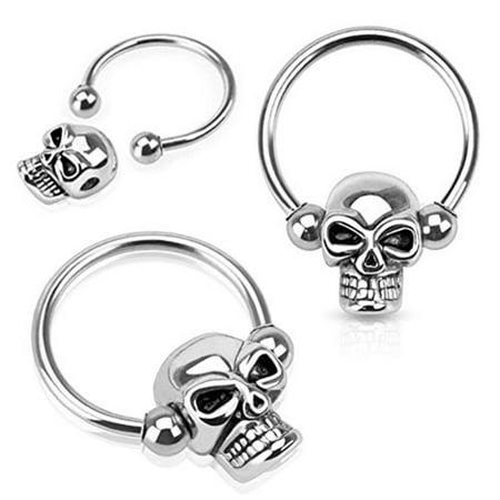 Nipple Ring Skull Bead 316l Surgical Steel Captive Bead Ring Pair