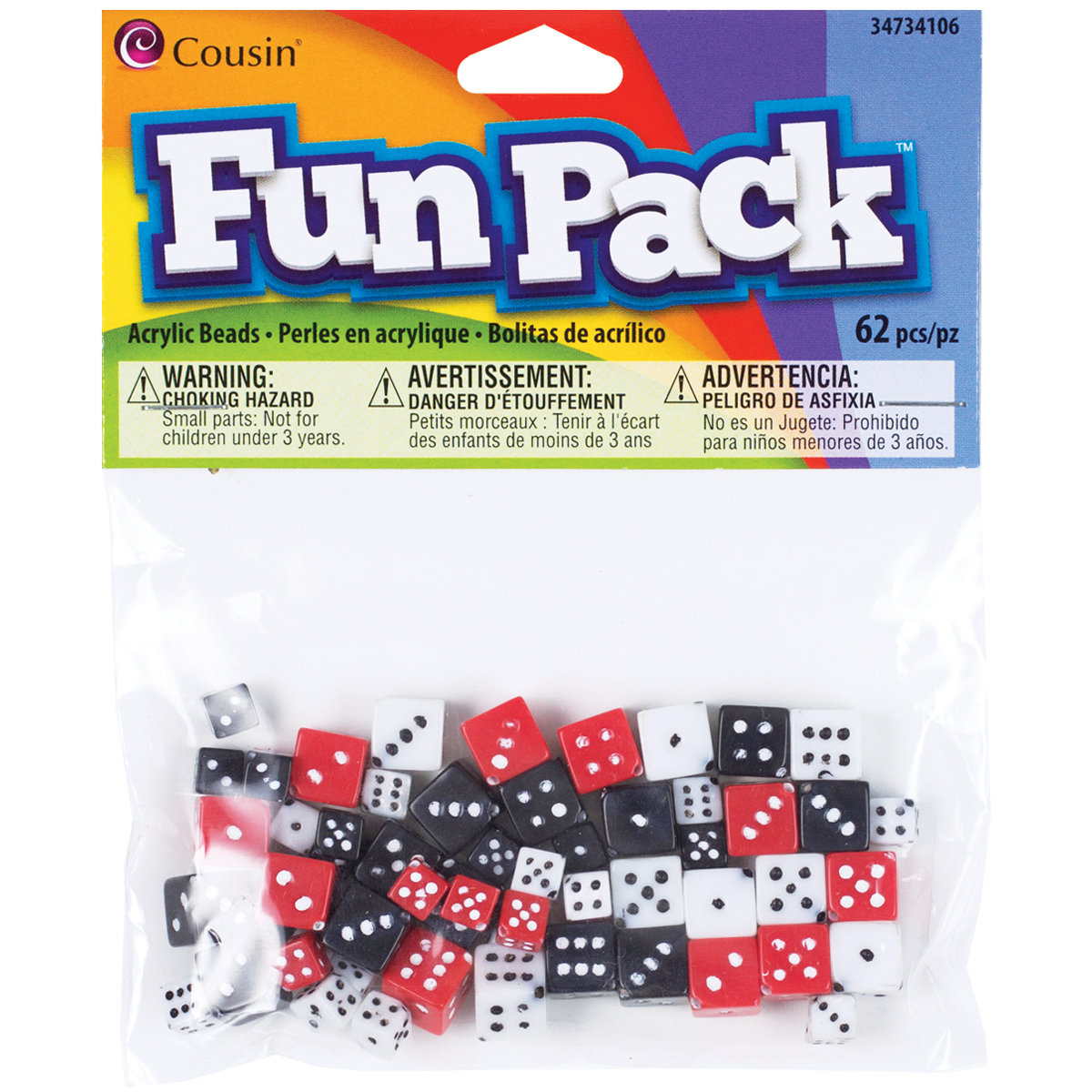 Fun Pack Acrylic Dice Beads 8-10mm, 62pk, Assorted Colors