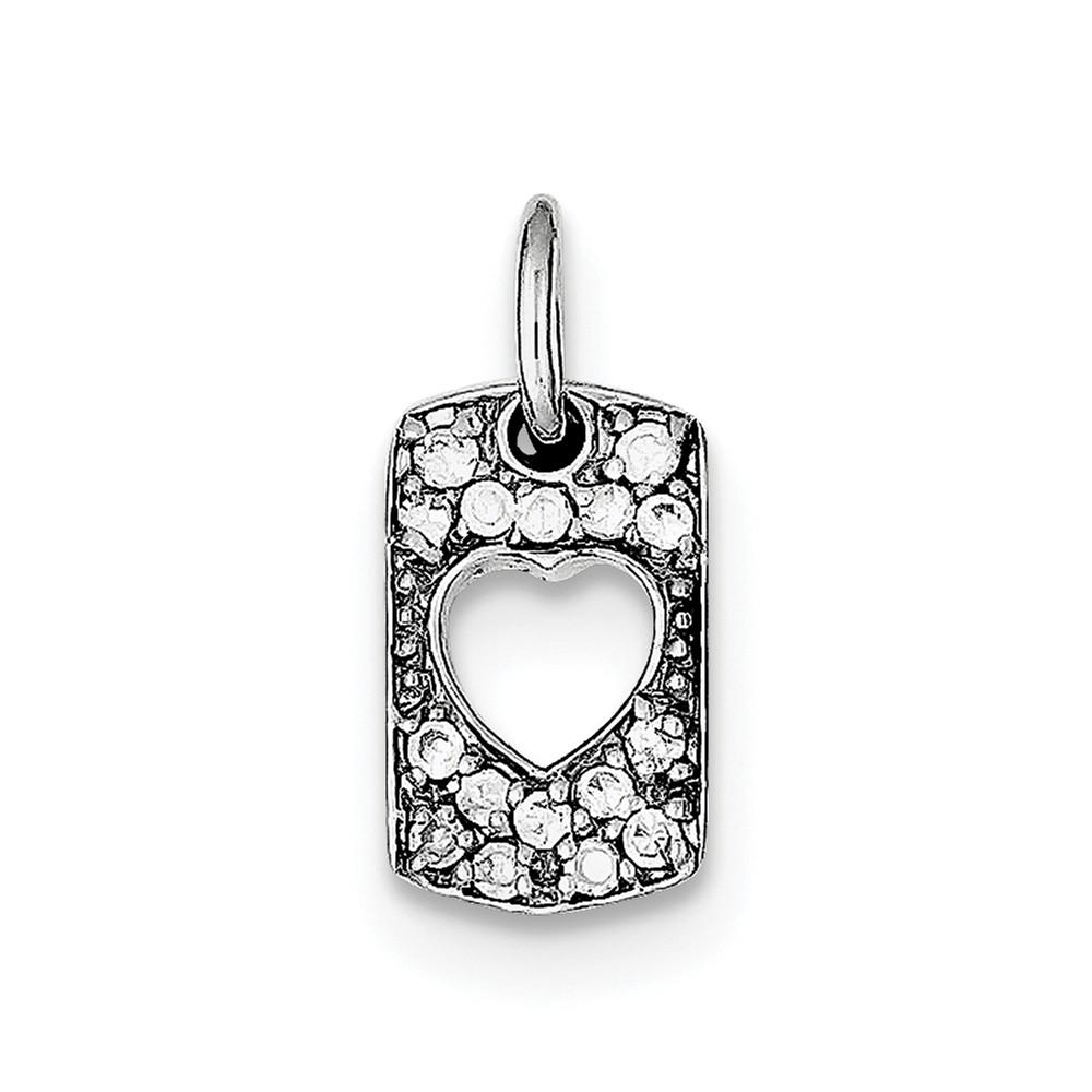Sterling Silver Love CZ Heart Charm. (0.6in long x 0.4in wide)
