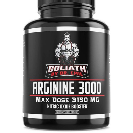 Goliath by Dr. Emil ARGININE 3000 - L Arginine (3150mg) Highest Pill Form Dose - Nitric Oxide Supplement for Muscle Growth, Vascularity & (Best Non Steroid Supplement For Muscle Growth)