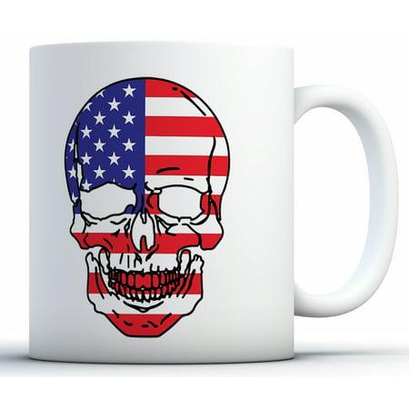 Awkward Styles USA Skull Mug USA Coffee Mug American Flag Mug American Gifts 4th of July Accessories 4th of July Kitchen Decoration Independence Day USA Flag Mug Coffee Lovers Gifts Kitchen Decorating Accessories