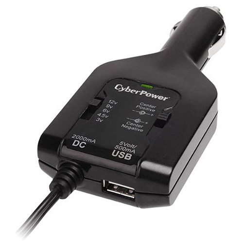 CyberPower CPUDC1U2000 DC Universal Power Adapter 3V-12V 2000mA and 2.1A USB Charging Port, Black