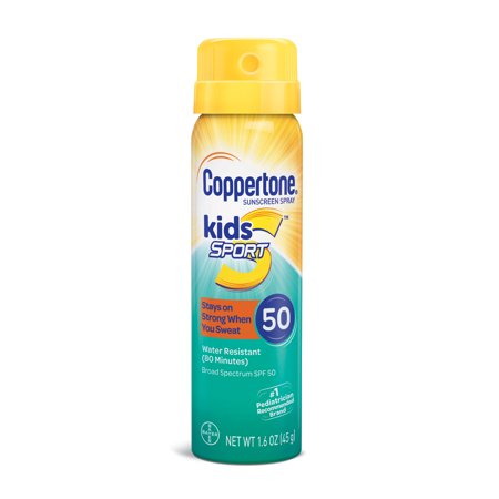 - Coppertone Kids Sport Sunscreen Water Resistant Spray SPF 50, 1.6 oz