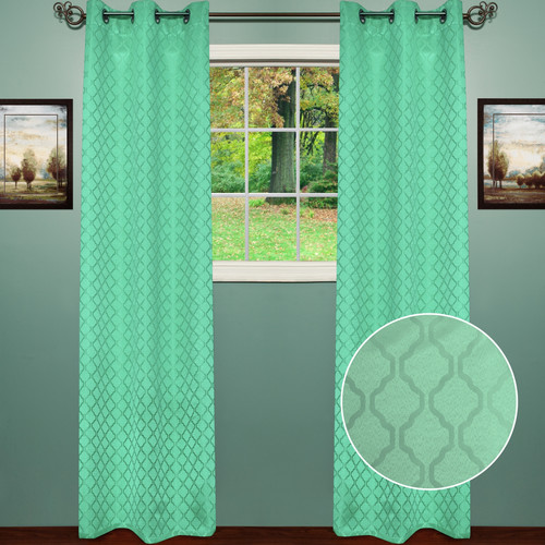 Sweet Home Collection Lattice Thermal Blackout Curtain Panels (Set of 2)