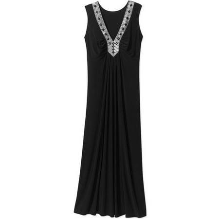 Women\'s Plus-Size Embellished V-Neck Maxi Dress