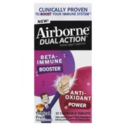 Airborne Dual Action Tropical Fruit Chewable Tablets, 32ct - 500mg of Vitamin C & Beta Immune Booster