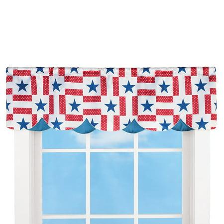 Americana Star Scalloped Curtain Valance Window -