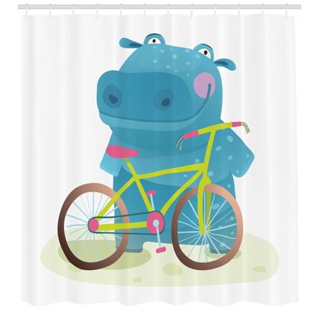 Hippo Shower Curtain, Hippo Child with Colorful Bicycle Having Fun Doing Sports Graphic Illustration Print, Fabric Bathroom Set with Hooks, 69W X 70L Inches, Multicolor, by (Hippo Fabric)
