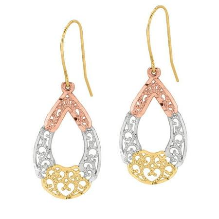 (10k Yellow Gold Fancy Filigree Earrings - .9 Grams)