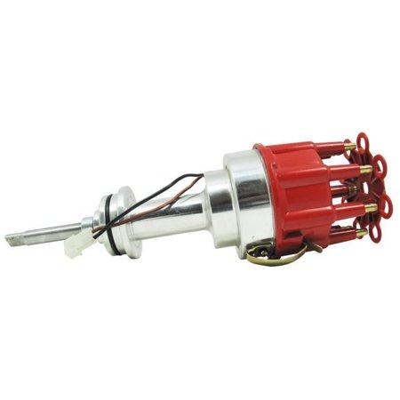 TSP Pro Billet Distributor-Chrysler/Dodge MOPAR 413, 426, 440 BB V8 ENGINES, RED CAP JM6614R