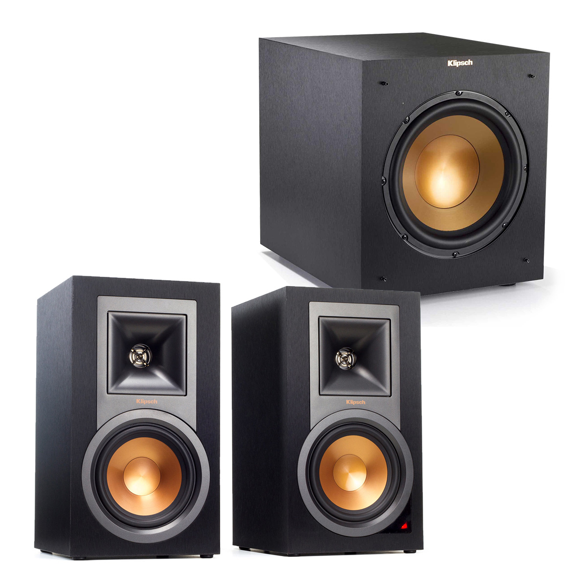 "Klipsch R-15PM Powered Monitor 2.1 Speaker Package w  R-10SWi 10"" Wireless Sub by Klipsch"