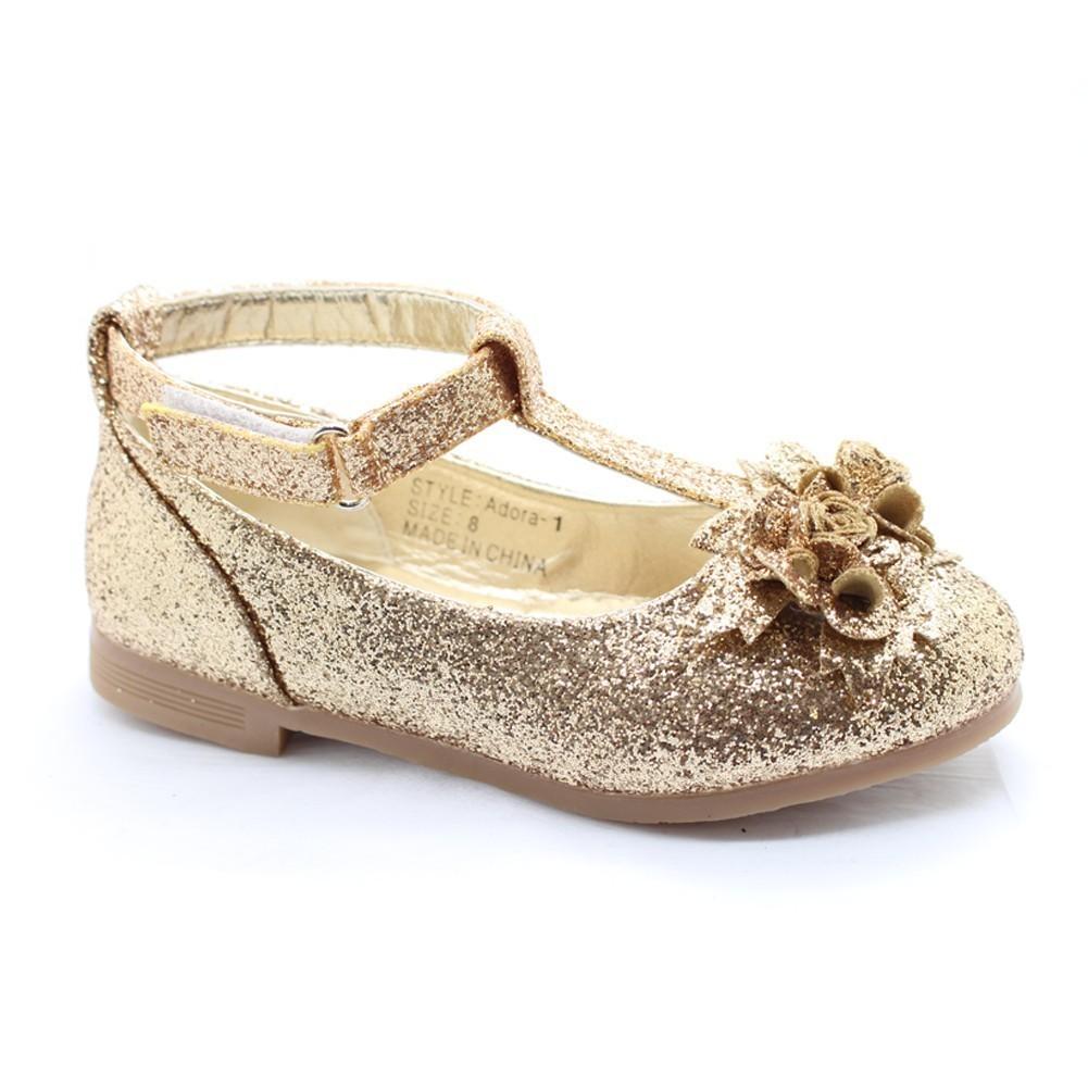 Girls Gold Glitter Flower Adorned