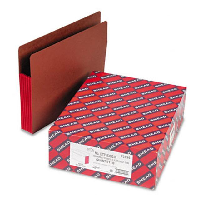 Smead 5 1/4 in Expansion File Pockets with Tyvek Straight Letter /Redrope 10/Box
