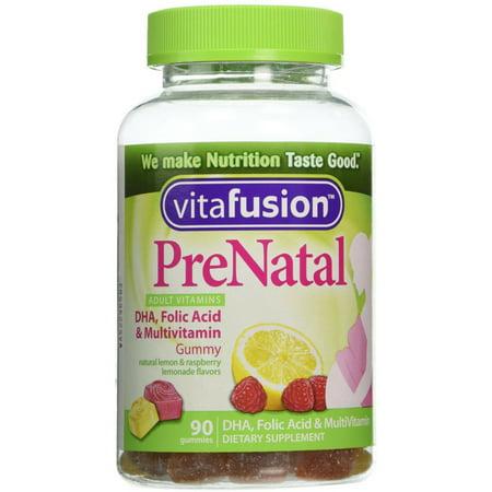4 Pack - Vitafusion Pré Natal Gummy Vitamines Complément alimentaire, citron et framboise Limonade Saveurs 90 Chaque