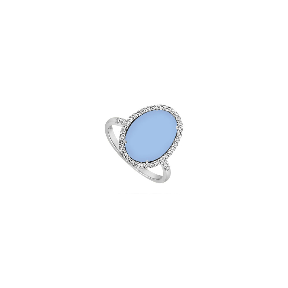 Sterling Silver Aqua Chalcedony and Cubic Zirconia Ring 16.00 CT TGW by Love Bright