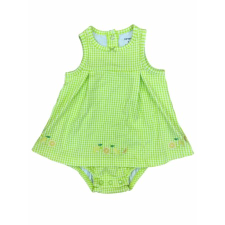 8ae3def20 Carters Infant Girls Green Check Lemon Print Romper Baby Bodysuit Fruit  Outfit - Walmart.com