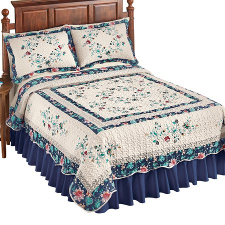 Border Bedding - Felicity Multicolored Floral Diamond Ivory Quilt with Scalloped Edges and Navy Border - Microfiber Bedding, Full/Queen, Blue/Pink