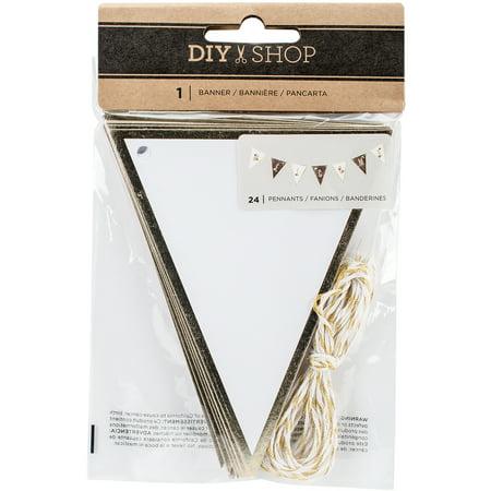 DIY Shop 3 Banner Kit-White W/Gold